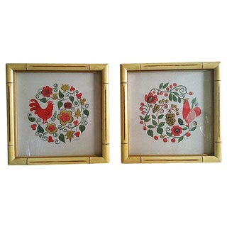 1970's Swedish Folk Art Frames - A Pair