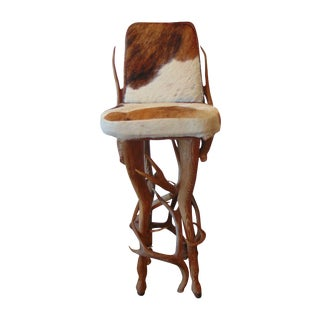 Vintage Rustic Deer Antler & Hide Bar Stool