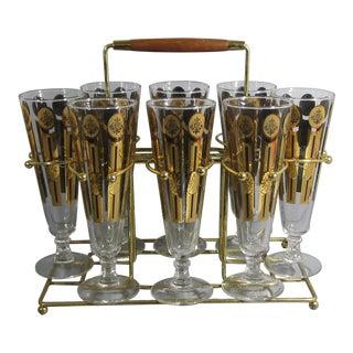 Mid-Century Modern Pilsner Glasses - Set of 8