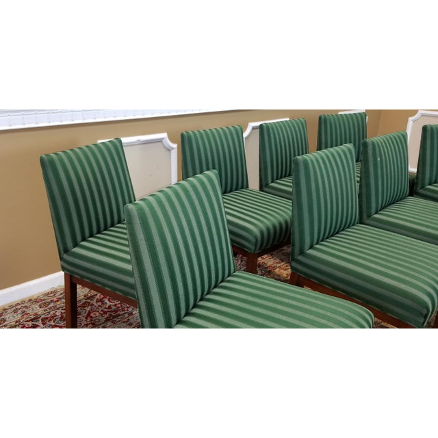 Striped Dining Room Chairs: 1970s Directional Contract Furniture Green Striped