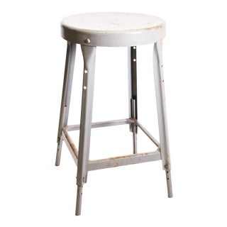 Vintage Industrial Gray Metal Shop Stool