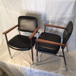 Image of Mid-Century Chrome & Walnut Armchairs - A Pair