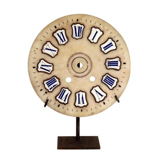 French Marble Clock Face with Enameled Numbers