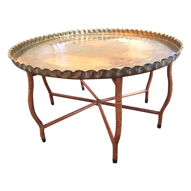 Mid Century Hand Hammered Brass Tray Coffee Table Chairish