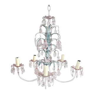 French Deco Tole, Crystal & Glass Chandelier, 1930