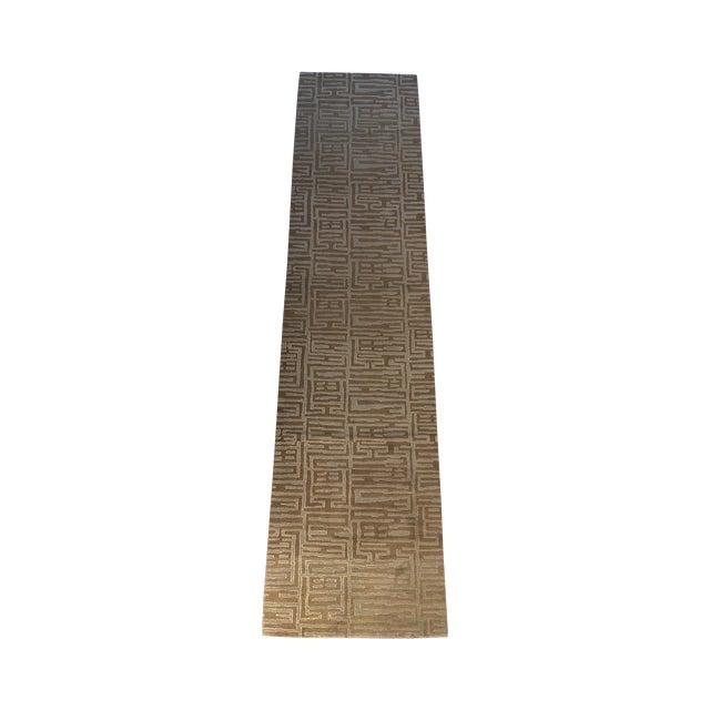 Contemporary Wool & Silk Runner - 3′ × 13′2″ - Image 1 of 5