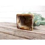 Image of Vintage Glazed Ceramic Elephant Planter