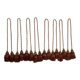 Moroccan Silk & Wood Bead Tassels- Set of 8