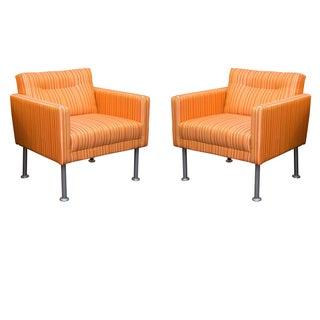 Orange Striped Lounge Chairs - Pair