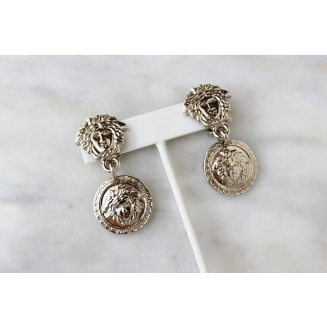 Image of Rare Gianni Versace 90s Silver Medusa Earrings