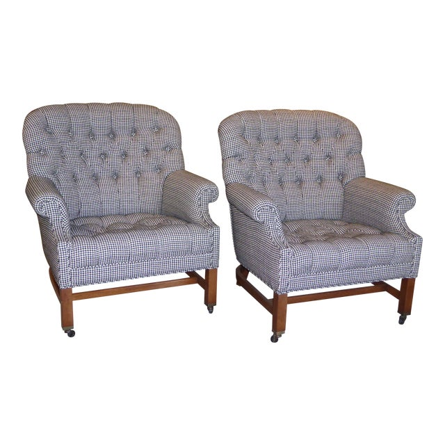 Beefy Edwardian Style Button Tufted Club Chairs in Houndstooth - Image 1 of 11