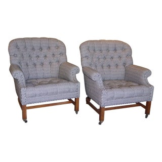 Beefy Edwardian Style Button Tufted Club Chairs in Houndstooth