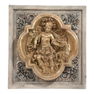 Traditional Italian Baroque-Style Carved Wall Plaque