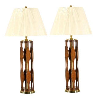 Restored Pair of Italian Modern Lamps in Walnut and Brass