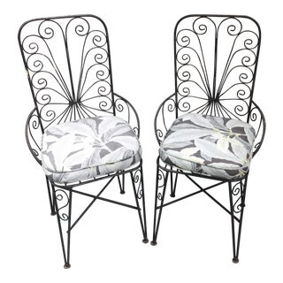 Vintage Petite Iron Chairs - A Pair