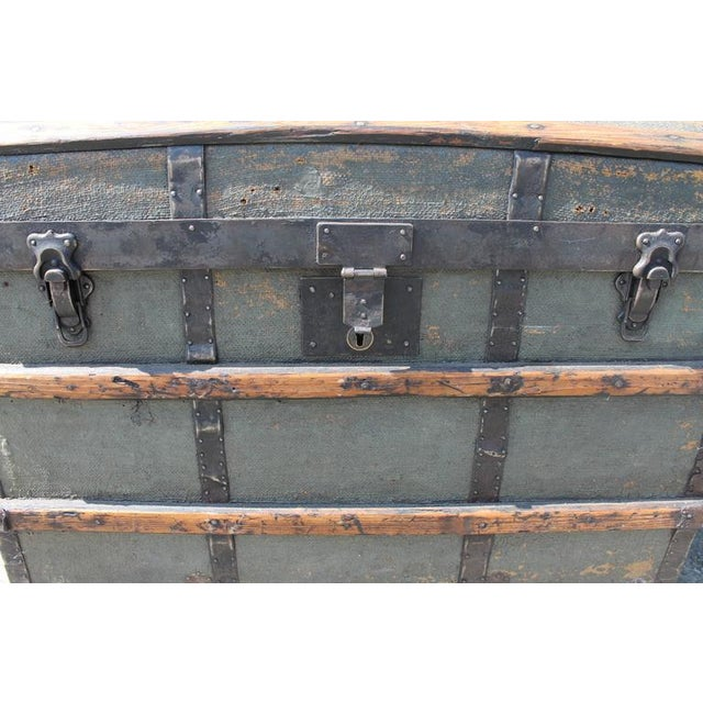 19th Century Original Green Painted Dome Top Trunk - Image 1 of 9