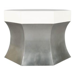 Octagonal Side Table - Stainless Steel and Cream Lacquer