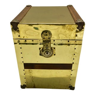 Vintage Sarreid Brass Studded Trunk Side Table