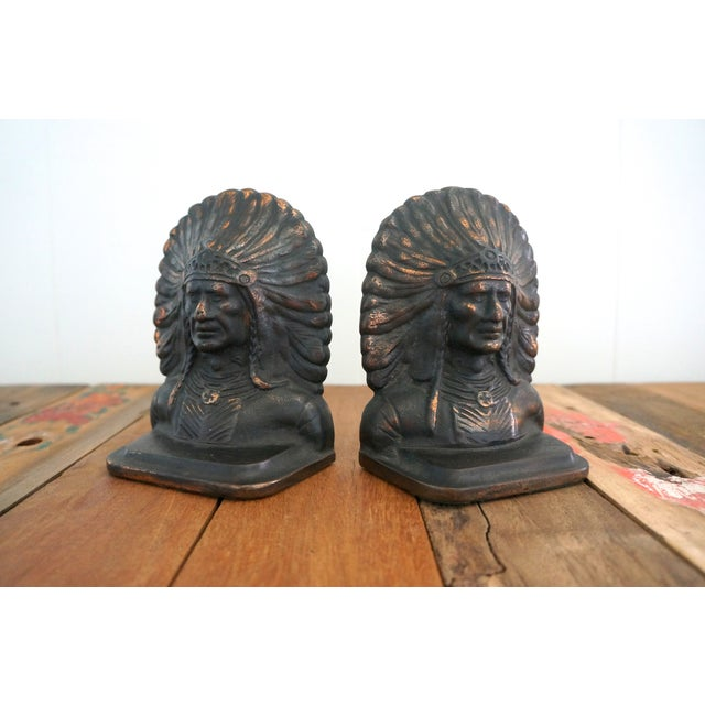 Image of Native American Iron & Copper Bookends - A Pair