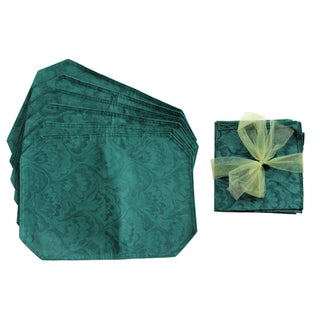 Emerald Brocade Placemats & Napkins - Set of 6
