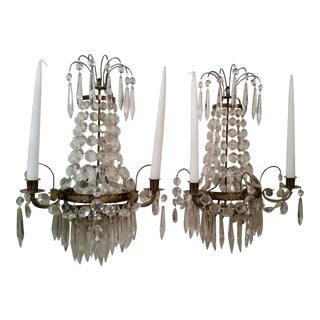 Swedish Neoclassical Candle Wall Sconces - A Pair