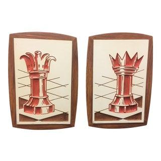Vintage Faux Bois Cast Plaster Chess Wall Plaques - a Pair