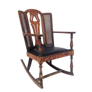 Colonial Cane Wingback Rocking Chair