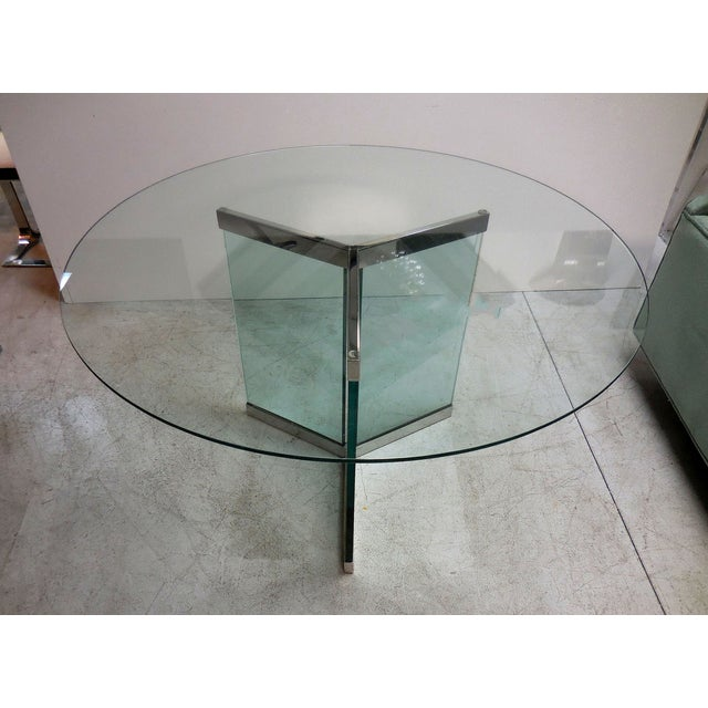 Image of Pace Round Chrome & Glass Dining Table