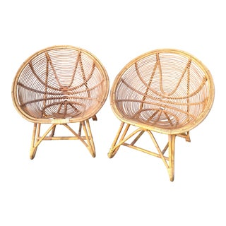 Antique Bamboo and Rattan Egg Chairs - Pair