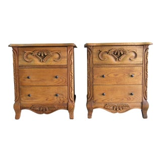 Carved Oak Nightstands - A Pair