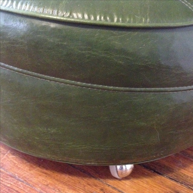 Vintage Mcm Avocado Green Rolling Ottoman Chairish