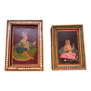Hand-Painted Indian Lovers Wood Boxes - Pair