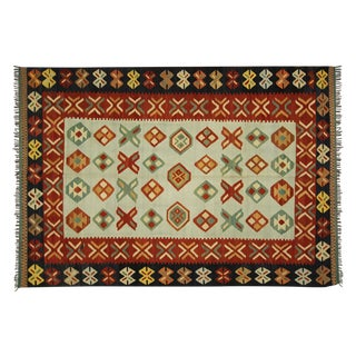 New Navajo Design Wool Kilim Area Rug - 7' x 10'