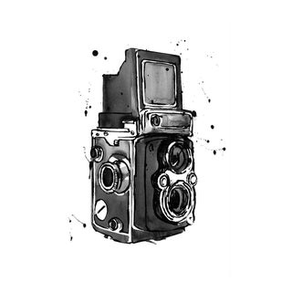 Contemporary Gallery Wrapped BW Camera Watercolor Print