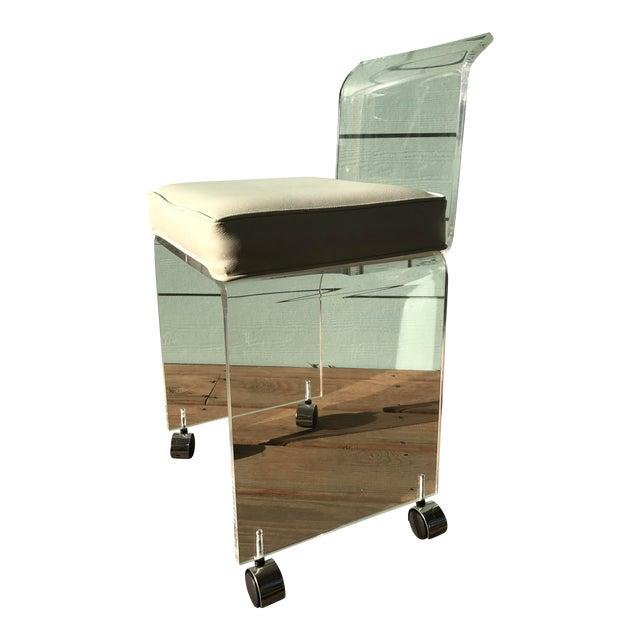 Lucite vanity chair chairish - Tall vanity chair ...