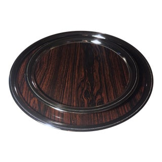 Mid-Century Formica Silver Round Trays - Pair