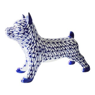 Vintage Blue & White Porcelain Dog