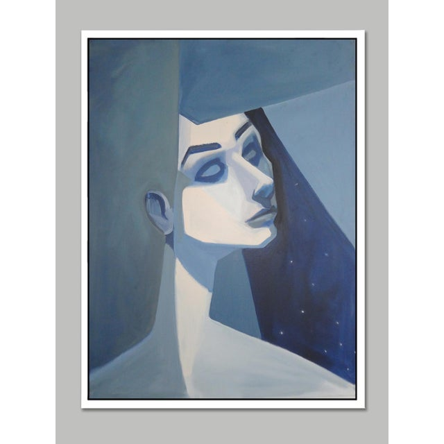 """Blue Girl"" Abstract Framed Giclée Print - Image 2 of 3"
