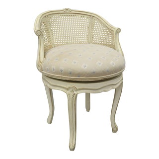 French Country Louis XV Style Swivel White Distress Painted Cane Vanity Chair