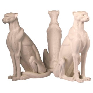 Faux Limestone Cheetah Sculptures - Set of 3