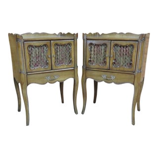 French Provincial Faux Painted Nightstands - a Pair