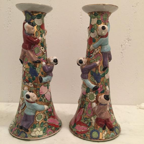 Chinese Fertility Candlestick Holders - Pair - Image 4 of 6