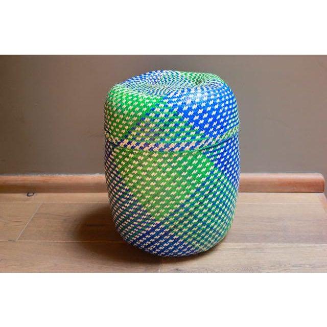 Hand-Woven Tenate Oaxacan Basket in Yellow & Blue - Image 2 of 5