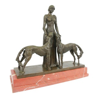 Lady With Dogs Bronze Figurine