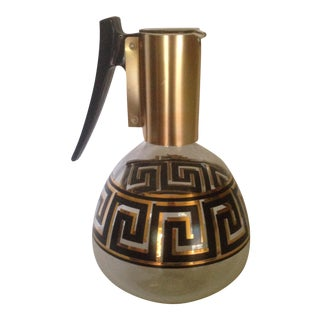 Mid-Century Greek Key Glass Coffee Carafe