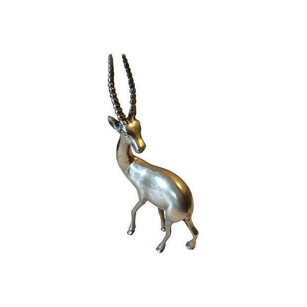 Mid-Century Solid Brass Gazelle - Image 3 of 6