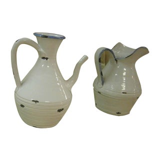 Italian White Pottery Pitchers - A Pair