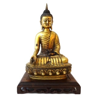 Vintage Bronze Buddha on Wood Stand