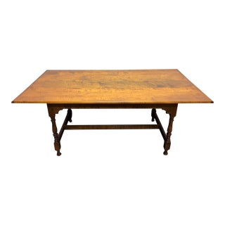 JL Treharn Tiger Maple Mission Shaker Amish Style Farmhouse Dining Table