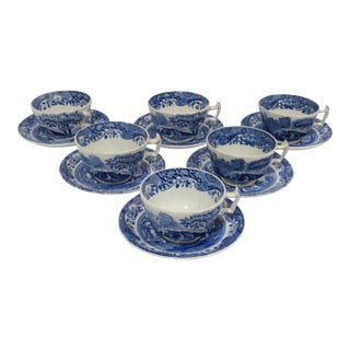 White & Blue Cups & Saucers - Set of 6